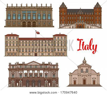 Italian tourist sights linear icon set with Royal Palace of Milan, Castle of Valentino, Roman Catholic Turin Cathedral, Palazzo Madama and Opera House La Scala. Travel, world heritage of Italy design
