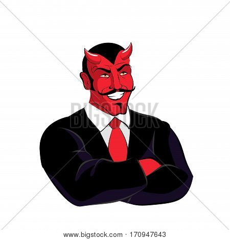 Satan Boss. Devil Businessman In Black Suit. Red Demon With Horns