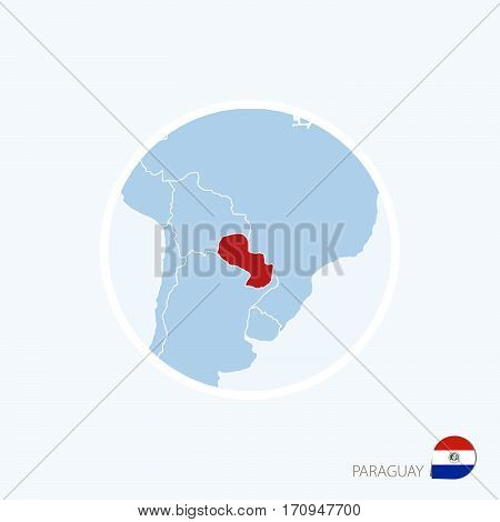 Map Icon Of Paraguay. Blue Map Of America With Highlighted Paraguay In Red Color.