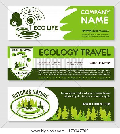 Eco tourism and green travel banner template set. Nature landscape shield and round badges with forest trees, plants and text layout. Ecology, responsible travel, sustainable development design
