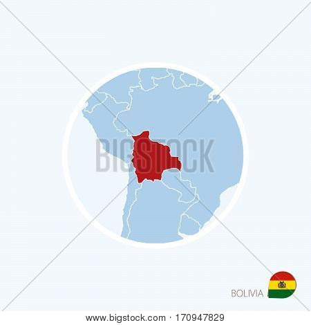Map Icon Of Bolivia. Blue Map Of Europe With Highlighted Bolivia In Red Color.