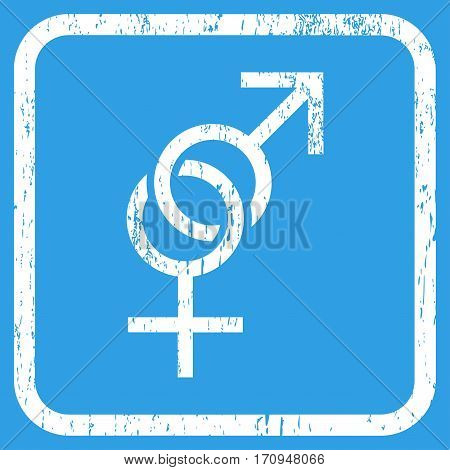 Sex Symbol rubber watermark. Vector icon symbol inside rounded rectangle with grunge design and scratched texture. Stamp seal illustration. Unclean white ink sign on a blue background.