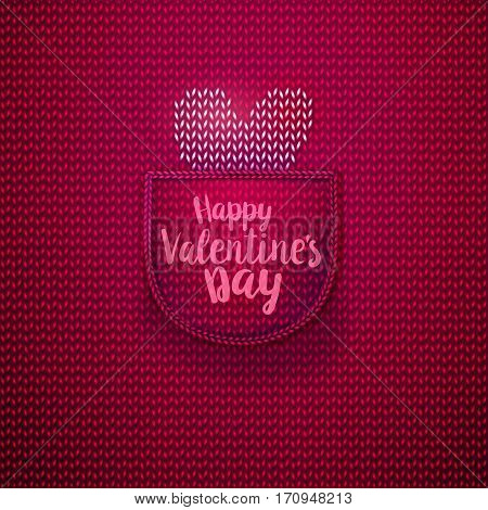 White knitted heart in wool knitted pink pocket with lettering Happy Valentines Day. Knitted textile background for Valentines Day. Vector illustration