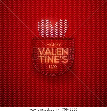 White knitted heart in wool knitted red pocket with lettering Happy Valentines Day. Knitted textile background for Valentines Day. Vector illustration
