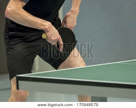 table tennis player waiting for the ball
