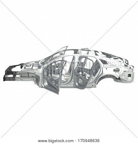 Side view Carcass af a sedan car on white background. 3D illustration