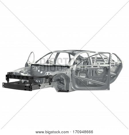Carcass af a sedan car with opened doors on white background. 3D illustration