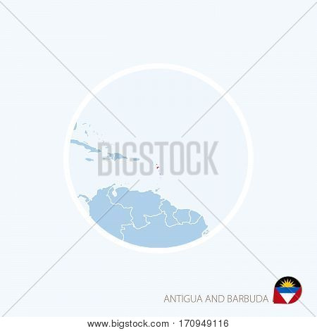 Map Icon Of Antigua And Barbuda. Blue Map Of Caribbean With Highlighted Antigua And Barbuda In Red C