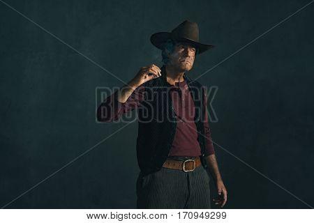 Retro Late 1960S Spaghetti Western Actor. Smoking Cigarette.