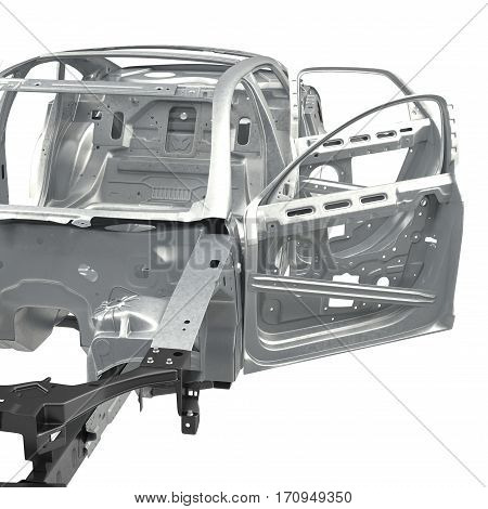 Sedan without cover with opened doors on white background. 3D illustration