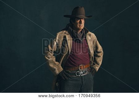 Retro Late 1960S Western Actor. Studio Portrait.