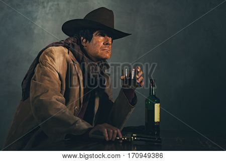Retro Late 1960S Mexican Western Actor. Drinking Whiskey At Bar.