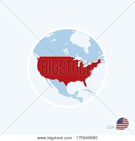 Map Icon Of Usa. Blue Map Of North America With Highlighted United States Of America In Red Color.