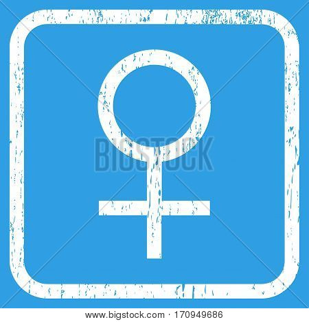 Venus Female Symbol rubber watermark. Vector pictogram symbol inside rounded rectangle with grunge design and scratched texture. Stamp seal illustration. Unclean white ink emblem on a blue background.