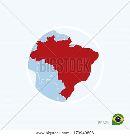 Map Icon Of Brazil. Blue Map Of Europe With Highlighted Brazil In Red Color.