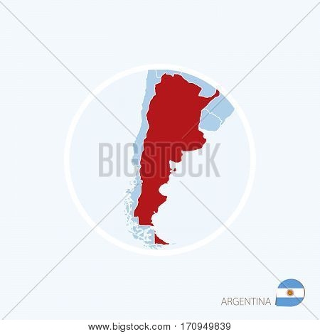 Map Icon Of Argentina. Blue Map Of Europe With Highlighted Argentina In Red Color.