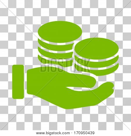 Salary Hand icon. Vector illustration style is flat iconic symbol eco green color transparent background. Designed for web and software interfaces.