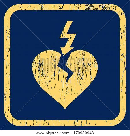 Break Heart rubber watermark. Vector icon symbol inside rounded rectangle with grunge design and dust texture. Stamp seal illustration. Unclean yellow ink sign on a blue background.