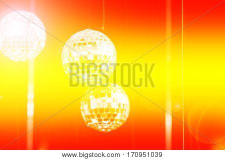 Close up disco ball light reflection background