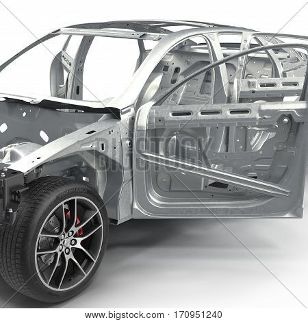 Skeleton of a car with Chassis on white background. 3D illustration
