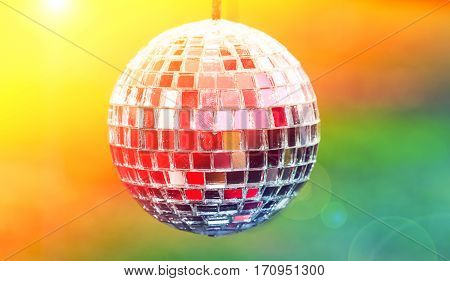 Close up disco ball light reflection background