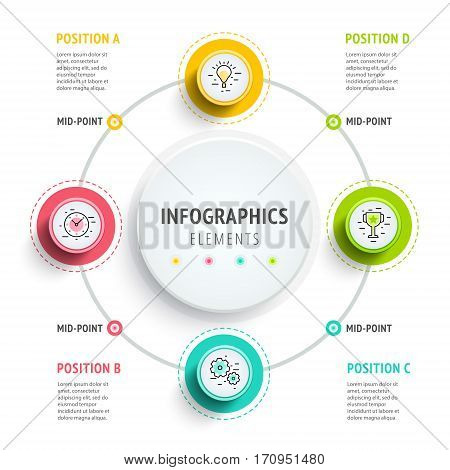 Circle Infographics Elements Design. Abstract Business Workflow Presentation With Linear Icons. Step