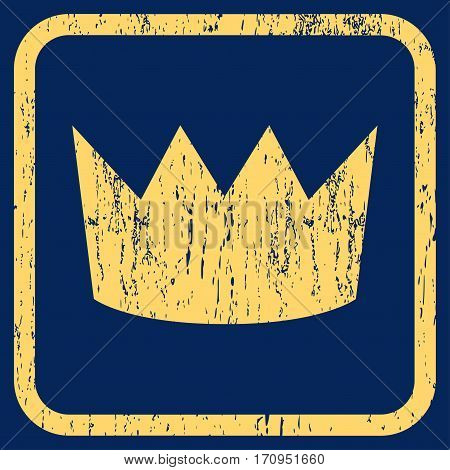 Crown rubber watermark. Vector icon symbol inside rounded rectangle with grunge design and unclean texture. Stamp seal illustration. Unclean yellow ink sign on a blue background.