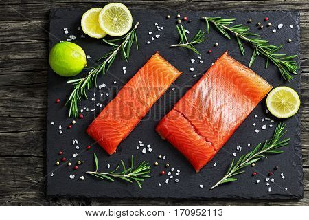 Salted Salmon Fish Fillet On Slate Plate