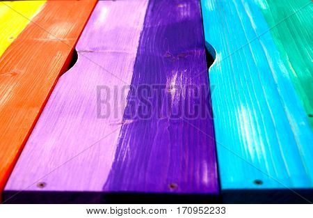Multi-colored wooden boards next to each other