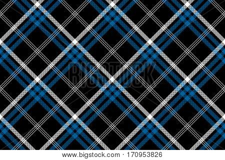 Black check seamless diagonal fabric texture background. Vector illustration.
