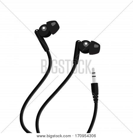 Black mini headphone with mini jack. Vector illustration.