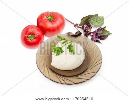 Ball of the fresh soaked mozzarella cheese on the dark glass saucer tomatoes and twigs of parsley and purple basil on a light background