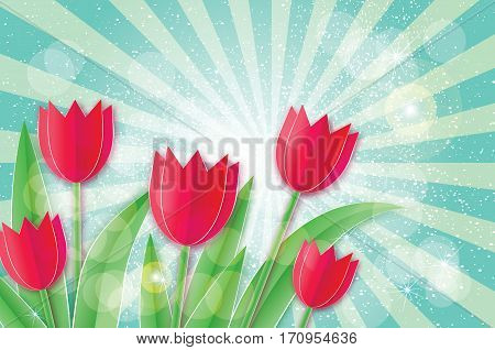 Red Tulips with Butterfly. Paper cut flower. Women's Day Greeting card. Origami Floral bouquet. 8 March. Happy Women's Day on blue ray background. Vector spring illustration