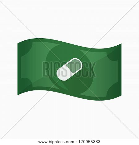 Isolated Bank Note With A Pill