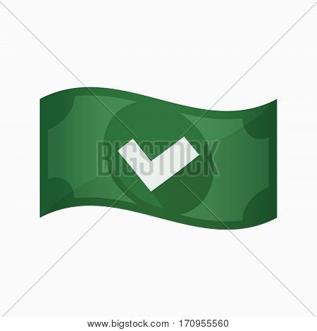 Isolated Bank Note With A Check Mark