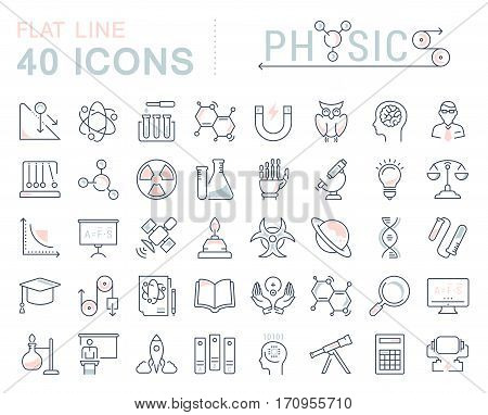 Set vector line icons sign and symbols in flat design physic with elements for mobile concepts and web apps. Collection modern infographic logo and pictogram.