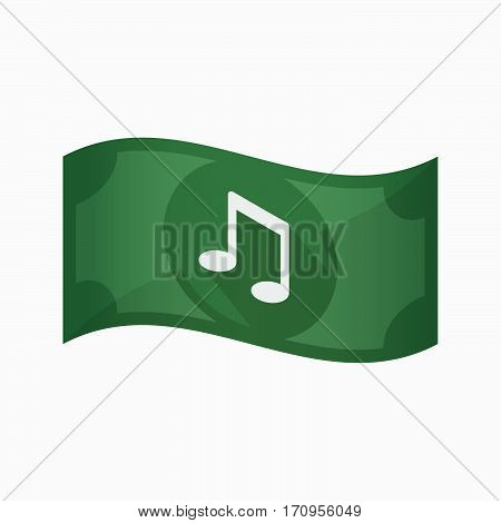 Isolated Bank Note With A Note Music