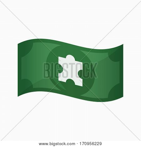 Isolated Bank Note With A Puzzle Piece