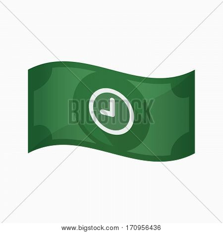 Isolated Bank Note With A Clock