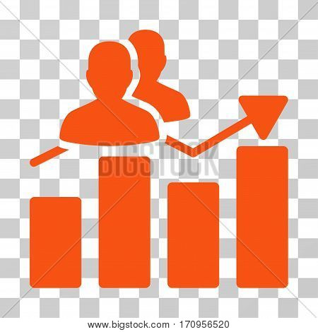 Audience Graph icon. Vector illustration style is flat iconic symbol orange color transparent background. Designed for web and software interfaces.