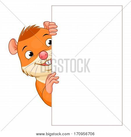 Cute cartoon hamster holding white vertical blank. Vector design element.