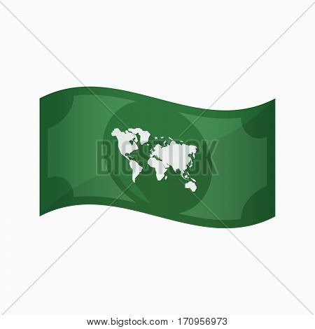 Isolated Bank Note With A World Map