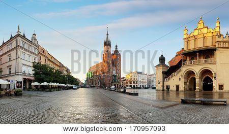 Historic Krakow Market Square in the Morning Poland