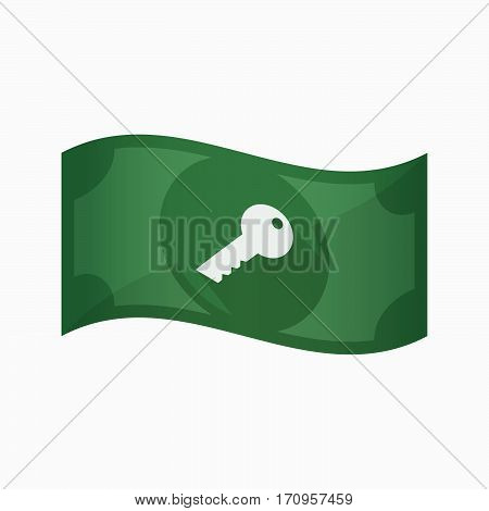 Isolated Bank Note With A Key