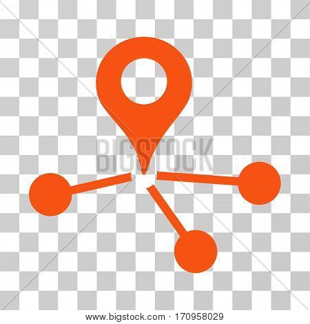 Geo Network icon. Vector illustration style is flat iconic symbol orange color transparent background. Designed for web and software interfaces.