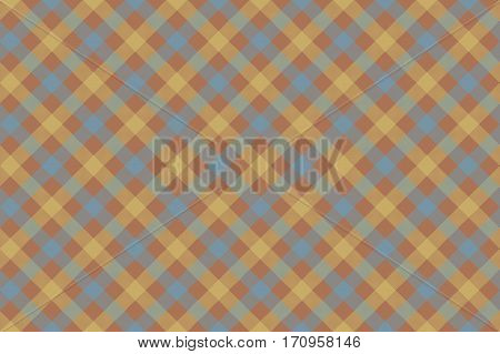 Gray brown check diagonal fabric texture background seamless pattern. Vector illustration. EPS 10.
