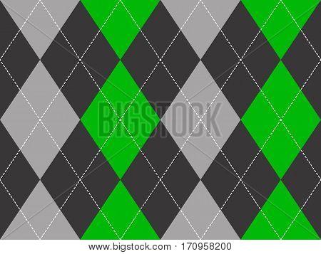 Green gray argyle fabric texture seamless pattern. Flat design. Vector illustration.