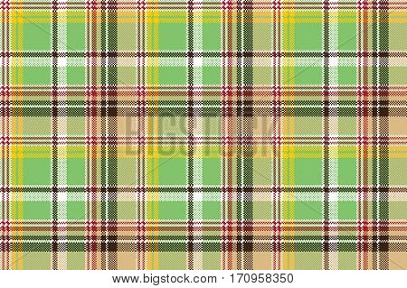 Green plaid pixel texture madras color fabric seamless pattern. Vector illustration.