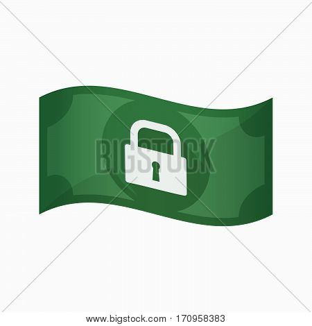 Isolated Bank Note With A Closed Lock Pad
