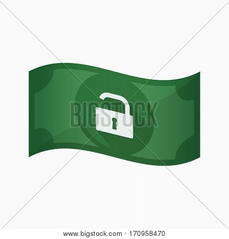 Isolated Bank Note With An Open Lock Pad